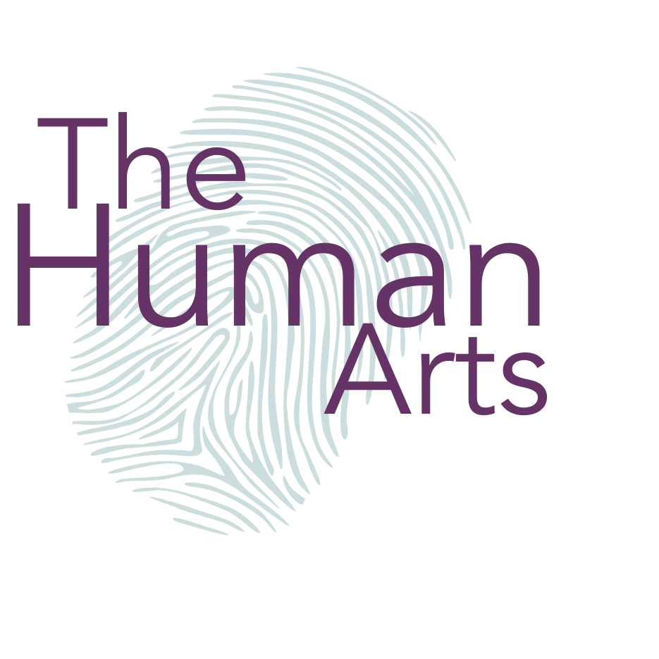 The Human Arts logo - a light green thumb print with 'The Human Arts' written on it in dark purple text. The word Human is bigger than the other two words.