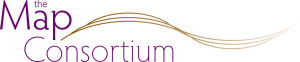 The Map Consortium Logo - a gold coloured three-line wave next to the words 'The Map Consortium' in purple text and simple font.