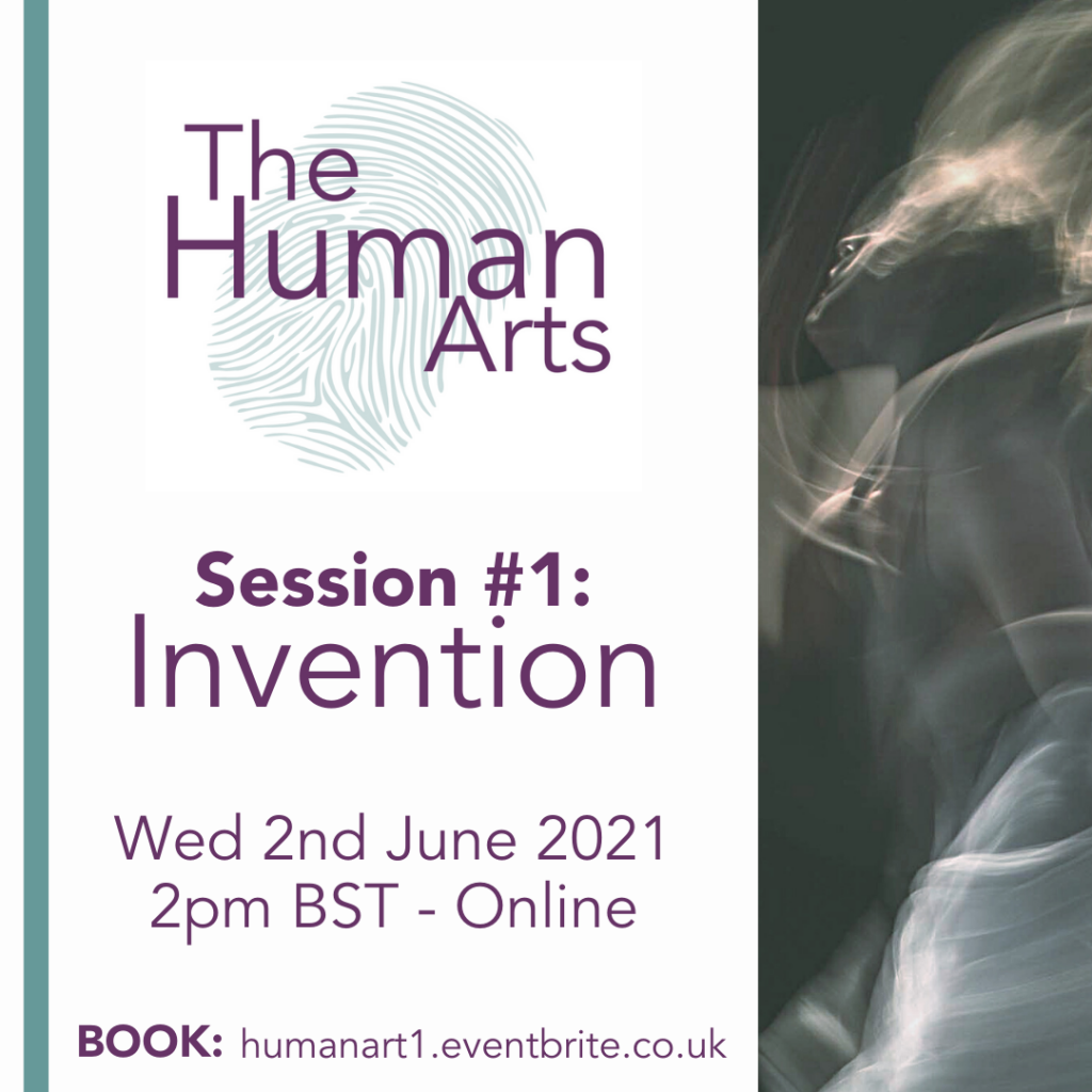 A clickable poster square for the Human Arts Session 1, which is on invention. It contains the details of the session, as seen on the web page above, as well as a blurred picture of a person dancing in black and white and the Map Consortium logo.