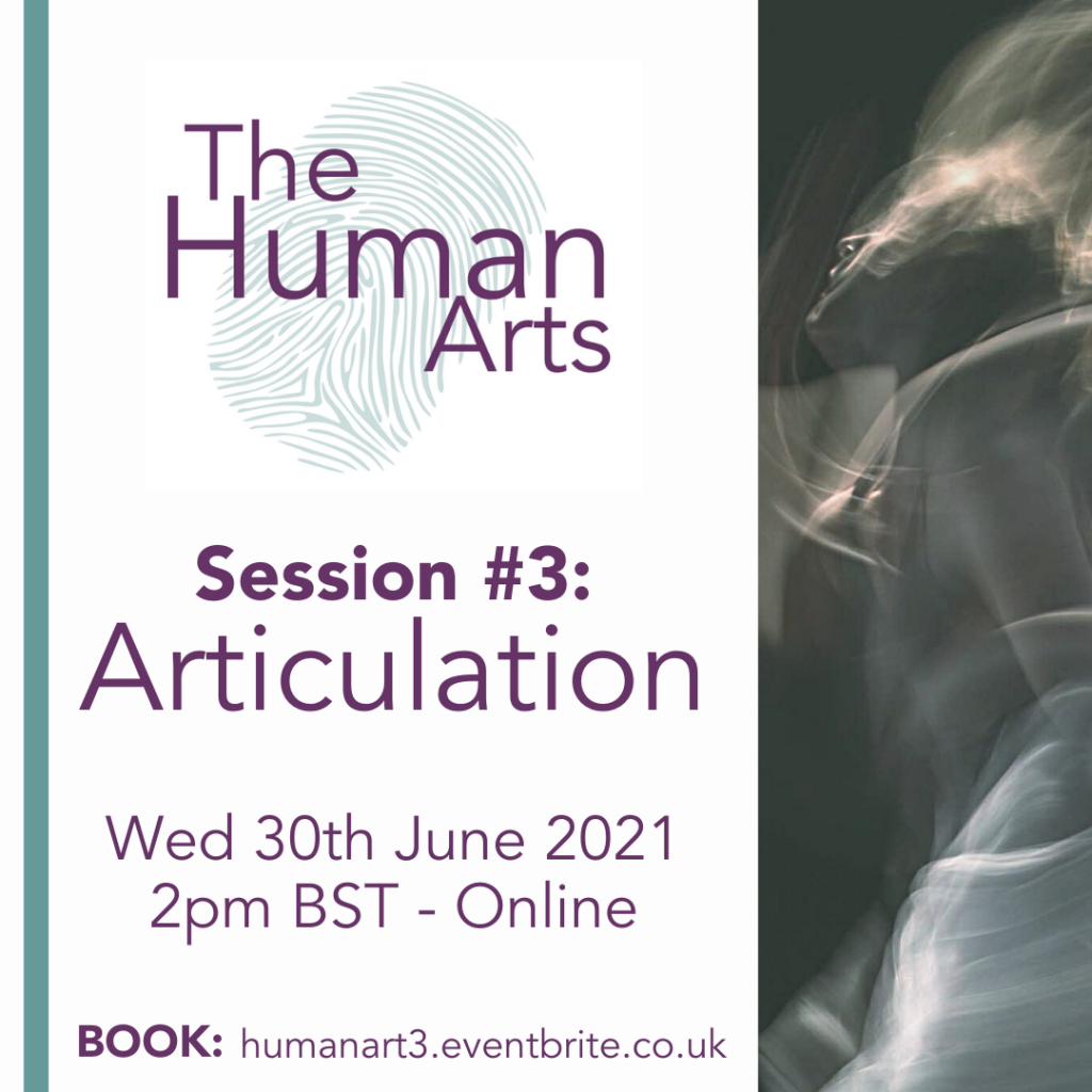 A clickable poster square for the Human Arts Session 3, which is on Articulation. It contains the details of the session, as seen on the web page above, as well as a blurred picture of a person dancing in black and white and the Map Consortium logo.